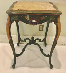 Vintage Italian Venetian Style Hand Painted Forest Green Marble Top Side Table