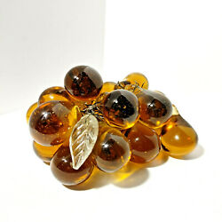 Vintage Blown Glass Grape Cluster Bunch Vintage Amber Solid Glass