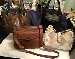FOSSIL Lot Of 4 Leather Handbags Hobo Tote Crossbody Purses Brown Black White $79.95