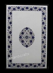Lapis Lazuli Stone Inlay Art Dinning Table Top Marble Kitchen Table 36 X 60 Inch