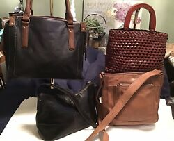 FOSSIL Lot Of 4 Leather Hobo Satchel Tote Crossbody Handbags Brown Black Weave $79.95