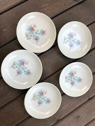 5 Vintage Steubenville Pottery China Fairlane 8 Soup Bowls White Pink And Blue