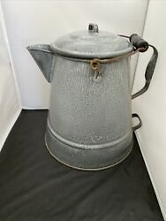 Early 1900's Graniteware Large 2 Gal. Camp Coffee Pot Large Double Handles Wood