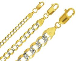 Cuban Link Chain 14k Solid Two Tone Gold 3-10.5mm Open Link Curb Chain Necklace