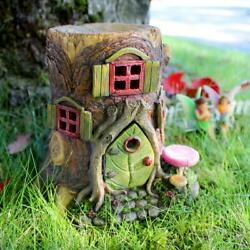Tree Stump House | Miniature Home For Fairy Garden, Gnome Village, Flower Bed