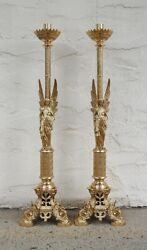 40 Amazing Pair Of Brass Angel Altar Candle Sticks 166 Church Chalice Co.