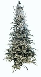 12and039 Flocked Balsam Fir Prelit Artificial Christmas Tree With 8 Function Remote