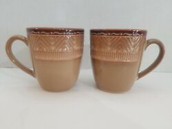 Set Of 2 Noble Excellence Native Habitat Stoneware Mug Coffee Cup-nice Condition