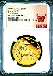 2021 P Australia Proof Gold 100 Lunar Year Of The Ox Ngc Pf70 1 Oz Coin Fr