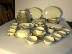 Antique W. H. Grindley And Co Chine Marengo Pattern White Gold Trim Dinner Set