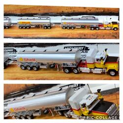 Highway Replicas Shell Tanker Road Train Trailer And Dolly 164 Scale Model Truckh