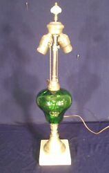 Antique Victorian Green Glass Oil Lamp On A Brass And Marble Base