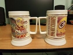 Green Bay Packers 1996 Nfc Central Div. And Nfc Championship Mugs