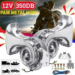 12V 300dB Metal Electric Horn Super Loud Car Motorcycle Silver SUV Universal USA