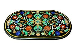 Floral Pattern Kitchen Table Oval Marble Dinning Table With Stone 30 X 60 Inches