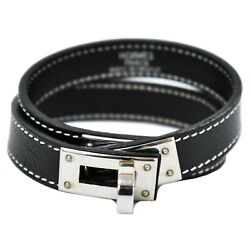 Authentic Hermes Kelly Dog Collar Leather Metal Brown Silver France