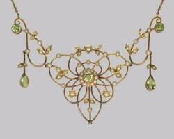 Antique Peridot And Seed Pearl Necklace Edwardian 9ct Gold Floral Scroll Necklace