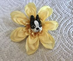 BEAUTIFUL HAND CRAFTED BOSTON TERRIER FLOWER PIN