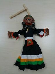 Vtg Marionette Puppets Mexico Mexican Celebration Handmade Mask Clay Legs Hands