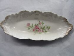Antique Sm Serving Dish Pink Roses Gold Gilt 9 Replacement