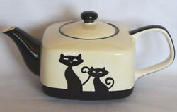 Huesnbrews Black Cat And Paw Prints Ivory Black Square Teapot + 2 Cups New