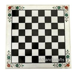 Marble Game Table Top With Inlay Work Coffee Table Check Design For Home Decor