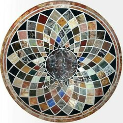 Dining Table Geometrical Design Marble Sofa Table Top With Gemstone Inlay Work