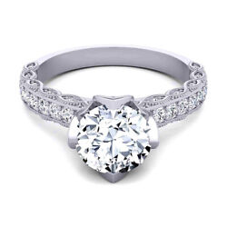 950 Platinum Womenand039s Engagement Real Diamond Ring Round Cut 0.80 Ct Size 5 6 7 8