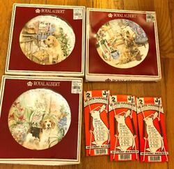 Lot Of 3 80's Vintage Royal Albert China Plate Dog Man's Best Friend Collection