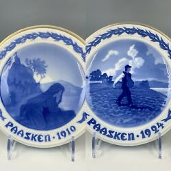 Antique Bing And Grondahl Easter Porcelain Collectible Plates 1924 And 1910 Passken