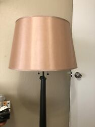 Pottery Barn Large Tapered Drum In Dupioni Silk Lamp Shade Parchment Color