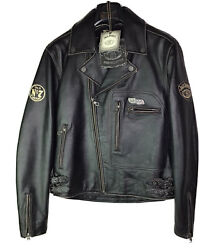 New Jack Daniels Old No.7 Brand Rider Collection Leather Motorcycle Jacket Sizem