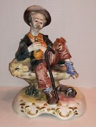 Vintage Capodimonte Drinking Hobo on a Bench Figurine Italy $80.00