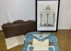 Vintage English Master Mason Lot - Apron Case And Framed Grand Lodge Certificate