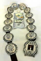 Lg 9ozt Harry Morgan Signed Navajo Concho Belt Ovals Buckle Sterling Silver