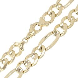 Menand039s 14k Yellow Gold Figaro Chain Necklace Solid Heavy Link 26 12mm 127.2grams