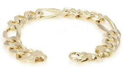 Menand039s 10k Yellow Gold Figaro Chain Bracelet Heavy Solid Gold 8.5 14mm 52.9grams