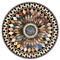 Marble Dining Table Top Geometrical Work Office Table Multi Color Gemstone Inlay