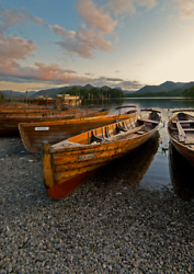 Lake District Photographic Print - Derwentwater Rowing Boats At Sunset