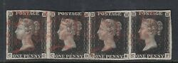 Sg2 - Penny Black Plate 6 - Strip Of 4 - Neat Red Mc's - Cc-cf - Fine Used