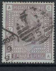 1883-84 Gb Qv 2s6d Lilac On Blued Paper Sg179a Fine Used - Cat Andpound3600