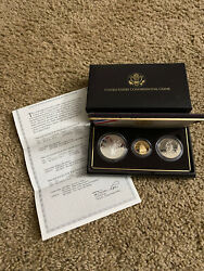 1989 Congress 3-coin Proof Set New In Original Government Packaging Coa