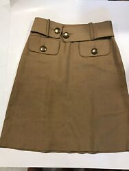 Chole A-line Skirt Cotton Linen Beige Size 34t Made In France Euc