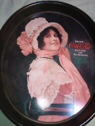 """""""betty"""" Coca Cola Oval Tip Tray 1972 Reproduction In Excellent Condition"""