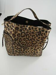 Women#x27;s Leopard Purse Bucket Handbag Faux Leather w Gold Hardware New $24.99