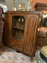Antique French Lxv Style Kingwood Figural Bronze Decorations,19th C. Vitrine