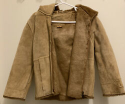 EUC UGG Genuine Suede Brown Leather Girls Lined Hooded Jacket Coat 4T C $20.99