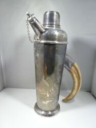Rare English Art Deco Silverplate Cocktail Shaker With Faux Tusk Handle
