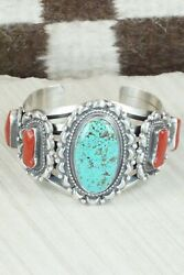 Turquoise, Coral And Sterling Silver Bracelet - Tom Lewis