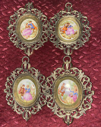 Vintage Small Ornate Frame Wall Hanging Plaque Porcelain Cameo Set Of 4 Size 5andrdquo
